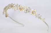 Wedding Bridal Headband Tiara of. Rhinestone Accented Enamelled Metal Flowers #83FC1
