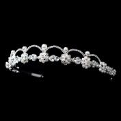 Belinda Silver White Pearl & Rhinestone Headpiece Wedding Bridal Tiara Headband