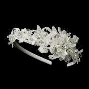 Aura Floral Fabric & Crystal Side Accented Wedding Bridal Tiara Headband