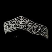 Elvira Antique Silver Princess Rhinestone Wedding Bridal Tiara Headband