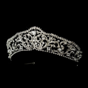 Esther Antique Silver Princess Rhinestone Wedding Bridal Tiara Headband