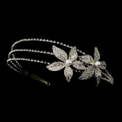 Eva Antique White Pearl & Rhinestone Floral Side Accented Wedding Bridal Tiara Headband