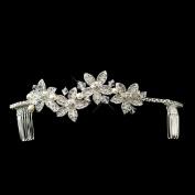 Xenia Silver White Pearl & Rhinestone Accent Floral Wedding Bridal Tiara Headband