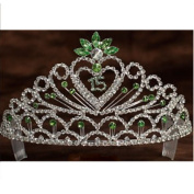Angels Garment Girls Green Crystal Stoned Heart 15 Quinceanera Tiara