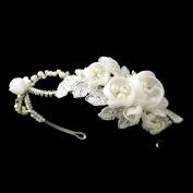 Ligia Ivory Floral Side Accented Wedding Bridal Tiara Headband