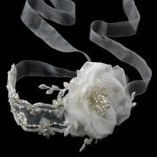 Filippa Light Ivory Ribbon Flower Wedding Bridal Sash or Headband Tiara