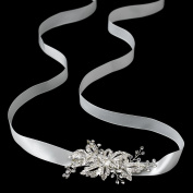 Pia Ivory Ribbon with Rhinestone Pave Flower Side Accent Wedding Bridal Sash or Headband Tiara