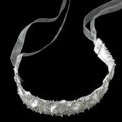 Fiora Sparkling Rhinestone Circle Ribbon Wedding Bridal Sash or Headband Tiara