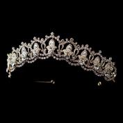 Stacey Gold Rhinestone Royal Tiara Headpiece Wedding Bridal Tiara Headband