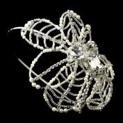 Saimara Diamond White Pearl, Rhinestone & Bugle Bead Side Accented Wedding Bridal Tiara Headband