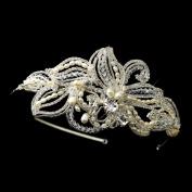 Yadeline Freshwater Pearl, Crystal & Rhinestone Side Accented Wedding Bridal Tiara Headband