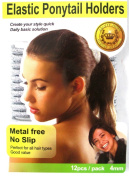 Beauty Town Elastic Ponytail Band Holders Metal Free No Slip Silver 12 Pack