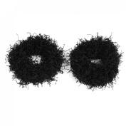Lady Black Nylon Rope Design Elastic Ponytail Holder Hair Accessory 2 Pcs