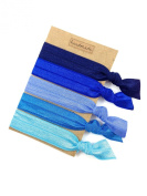 Elastic Hair Tie & Bracelet in One SOLID colour Blue MIX 5PC