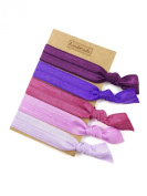 Elastic Hair Tie & Bracelet in One SOLID colour Purple MIX 5PC