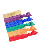 Elastic Hair Tie & Bracelet in One SOLID colour RAINBOW MIX 5PC