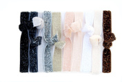 Neutral Sparkling Solid Colour 10 Elastic Hair Ties for Pony Tails or Elastic Sparkling Bracelet