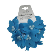 New Set of 3 Blue Flower with beads Elastic Band Hair Ties Ponytail Holder