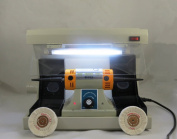 Laboratory Desk Polisher Dental Lab Jewel Vacuum Case Cover With Light Lamp 220V dentQ