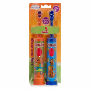 Brushpoint Twin Pack Battery Power Toothbrush, Scooby Doo, Blue - Orange