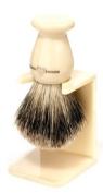 Edwin Jagger Best Badger Hair Handmade Imitation Ivory Large Shaving Brush with Drip Stand