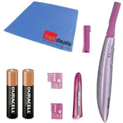 Panasonic ES2113PC Pivoting Head Facial Trimmer (Pink) with AAA Batteries & Fibre Cleaning Cloth