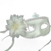 White Italian Princess Mask Rose Flower Masquerade Mask By U-beauty