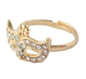 HotEnergy Vintage Cute Fox Mask Flower Full Rhinestone Crystal Opera Masquerade Mask Ring