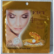 3 x Facy 4 Elements Gold Pearl Silk Collagen White Bright Gold Tissue Mask 1 Pcs. 21 ml.