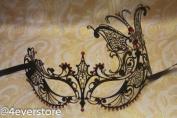 Majestic Black Butterfly Princess Venetian Mardi Gras Masquerade Mask with Diamonds