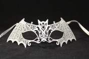 Special Edition Bat Woman White Laser Cut Venetian Mardi Gras Masquerade Mask with Diamonds