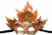 Classic Venetian Autumn Seasonal Leaf Design Laser Cut Masquerade Mask for Mardi Gras Events or Halloween - w/ Red Decorated Leaves