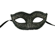 Classic Venetian Inspired Laser Cut Masquerade Mask, Elegantly Crafted w/ Metallic Coloured Lace