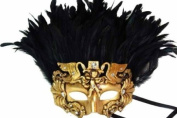 Classic Vintage Ancient Temple Priest Ruin Mask w/ Feathers Design Laser Cut Masquerade Mask for Mardi Gras Events or Halloween - Gold