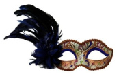 Intricately Decorated Pattern Venetian Design Laser Cut Masquerade Mask, Attached w/ Vibrant Blue Coloured Feathers