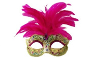 Intricately Detailed Pattern Swan Venetian Design Laser Cut Masquerade Mask, Attached w/ Vibrant Hot Pink Coloured Feathers