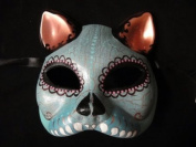 Laser Cut Venetian Halloween Masquerade Mask Costume Extravagant and Elegant Finely Detailed Cat Inspired - Baby Blue