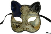 Laser Cut Venetian Halloween Masquerade Mask Costume Extravagant and Elegant Finely Detailed Cato Inspired - Blue and Black