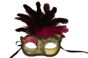 Laser Cut Venetian Halloween Masquerade Mask Costume Extravagant and Elegant Finely Detailed Feather Headdress - Pink