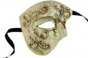 Laser Cut Venetian Halloween Masquerade Mask Costume Extravagant and Elegant Finely Detailed Phamtom Inspired - White Silver Lining