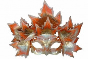 New Classic Venetian Autumn Seasonal Leaf Design Laser Cut Masquerade Mask for Mardi Gras Events or Halloween - w/ Vibrantly Decorated Silver and Red Leaves