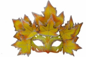 New Classic Venetian Autumn Seasonal Leaf Design Laser Cut Masquerade Mask for Mardi Gras Events or Halloween - w/ Vibrantly Decorated Yellow Leaves