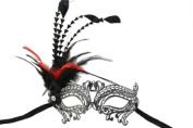 NEW Classic Venetian Design Swan Inspired Laser Cut Masquerade Mask - Elegantly Detailed and Decorated with Side Black and Red Feathers