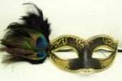 NEW Classic Vintage Venetian Elegant Swan Design Laser Cut Masquerade Mask for Mardi Gras or Halloween - Black w/ Gold Lace