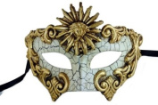 NEW Laser Cut Venetian Style Halloween Masquerade Mask for Costumes - Elegantly and Finely Detailed Sun Goddess Inspired- Gold Lining
