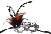 Royal Classic Venetian Design Swan Style Laser Cut Masquerade Mask - Detailed and Decorated with Side Black and Red Feathers
