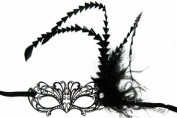 Royal Classic Venetian Design Swan Style Laser Cut Masquerade Mask - Detailed and Decorated with Side Black Feathers