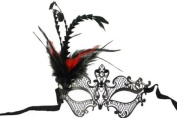 Royal Classic Venetian Design Swan Style Laser Cut Masquerade Mask - Finely Detailed and Decorated with Side Black and Red Feathers