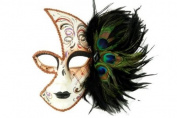 Tribal Classic Venetian Design Laser Cut Masquerade Mask, Attached w/ Peacock Feathers