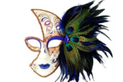 Tribal Classic Venetian Design Laser Cut Masquerade Mask, Attached w/ Vibrant Blue and Green Peacock Feathers